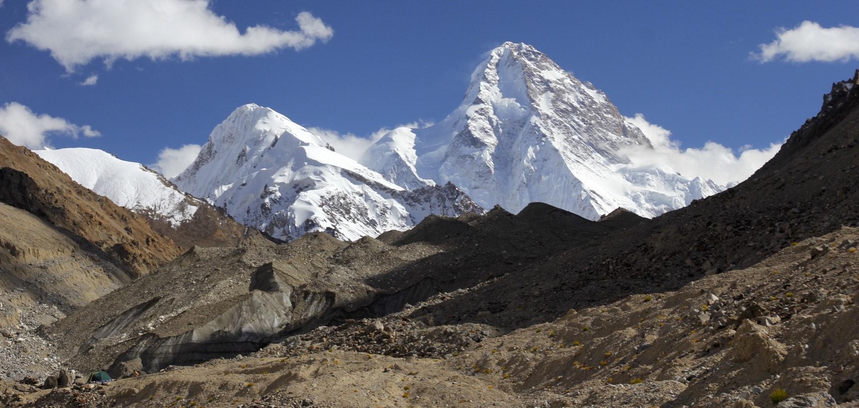 K2 Glacier and Italian BC, K2 in the distance