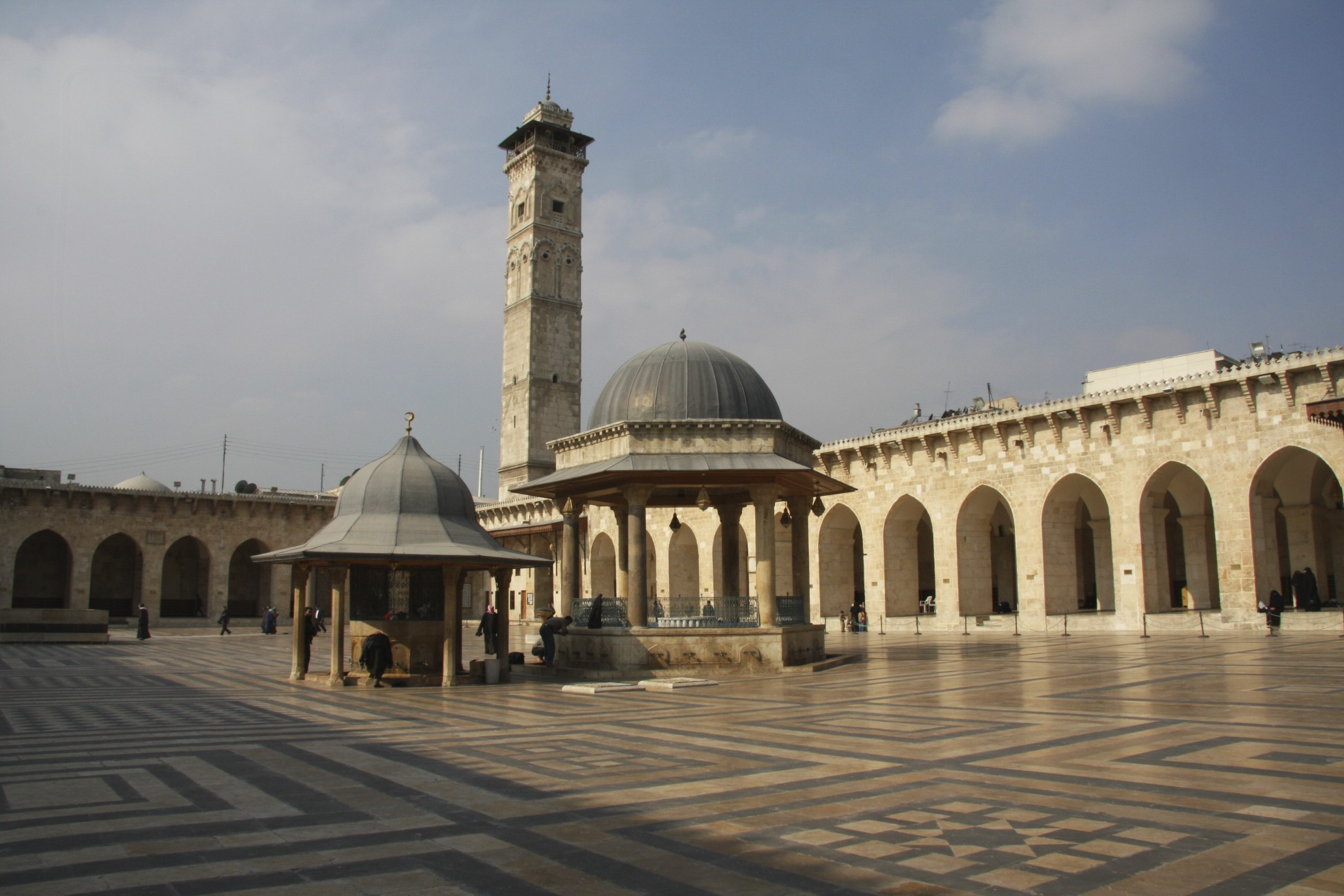 The Great Mosque of Aleppo built in the year 717.  The minaret was built in the year 1090.  It was destroyed recently.