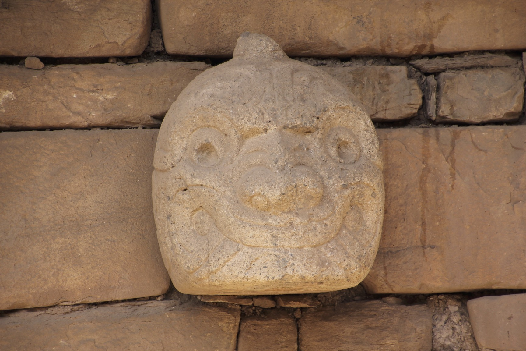 The feline head on one of the temples in Chavin