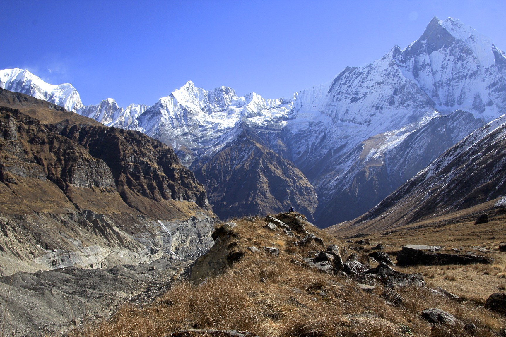 Looking down the Annapurna Glacier. The pointy peak on the right is Machapuchare.