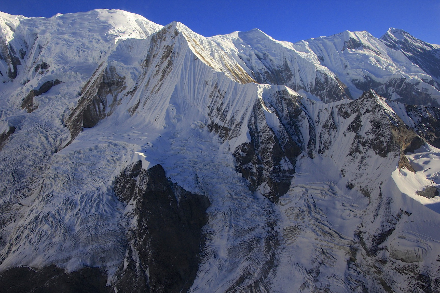 The Roc Noir. Gangapurna is on the far right. See the Mesocanto La Trip photos for the photos of these peaks from the other side! They do look very different.