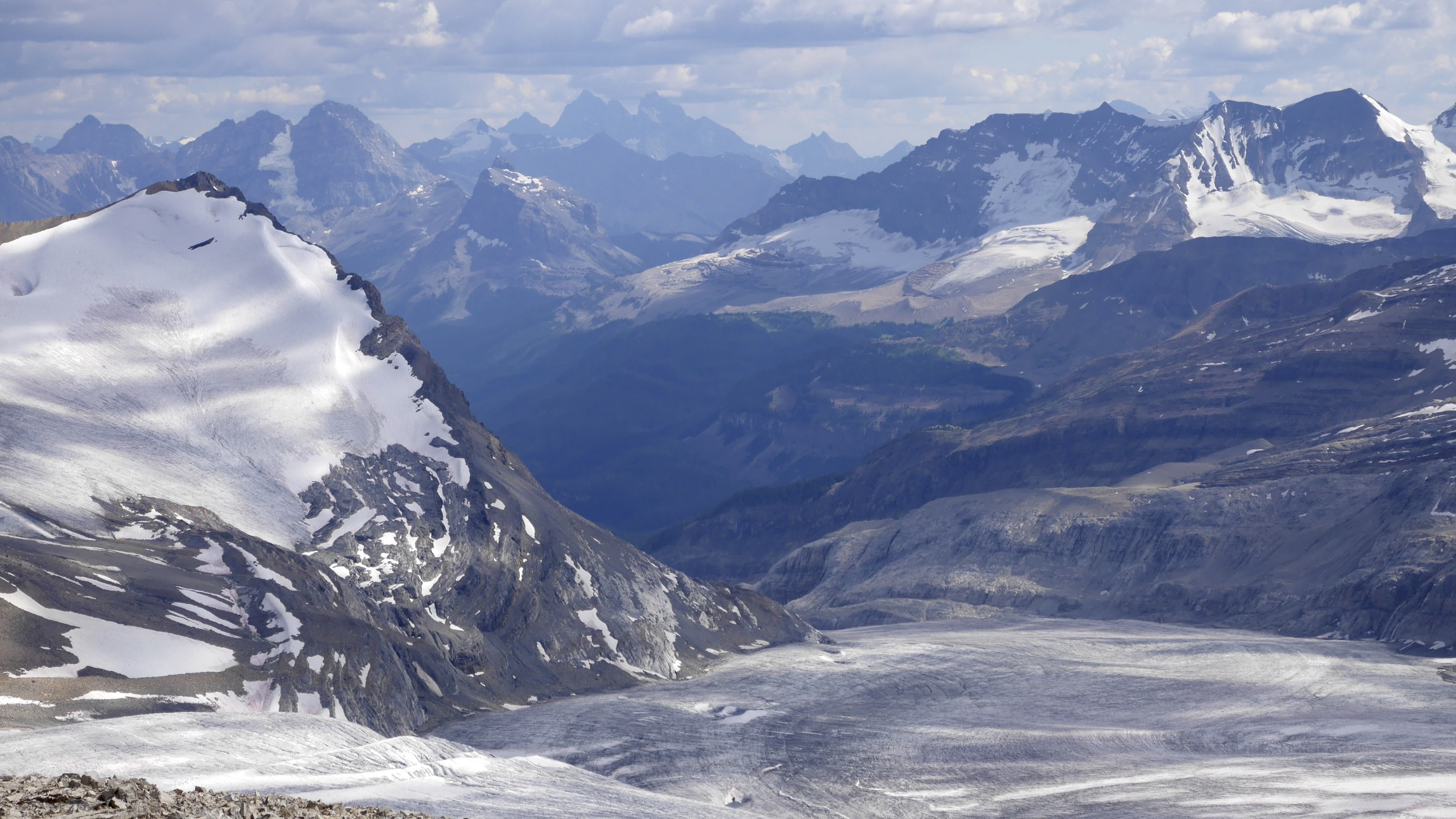 The Iceline trail and the Yoho Valley from Mt. Rhonda