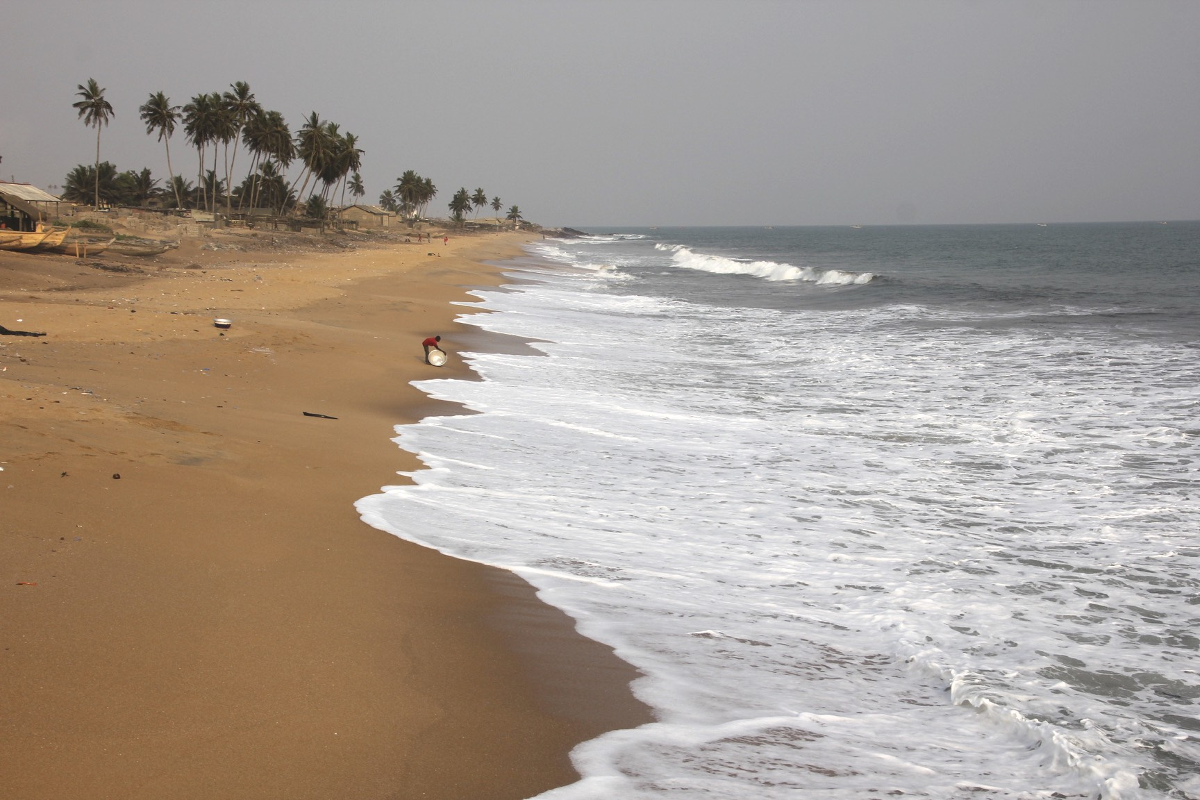 The Gold Coast of Ghana, the source of slaves for 400 years. A beautiful coast but too dangerous for swimming due to strong currents and sharks.