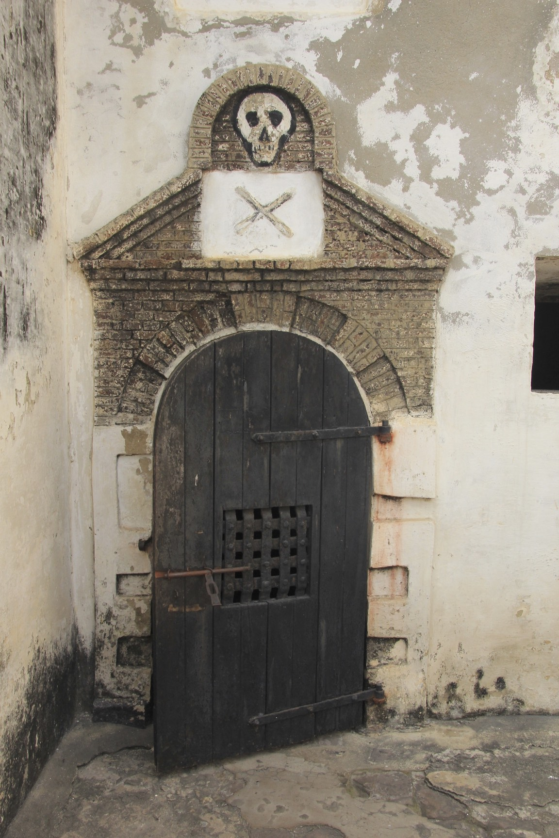 The cell of death where rebellious slaves were starved to death in the Elmina slave castle