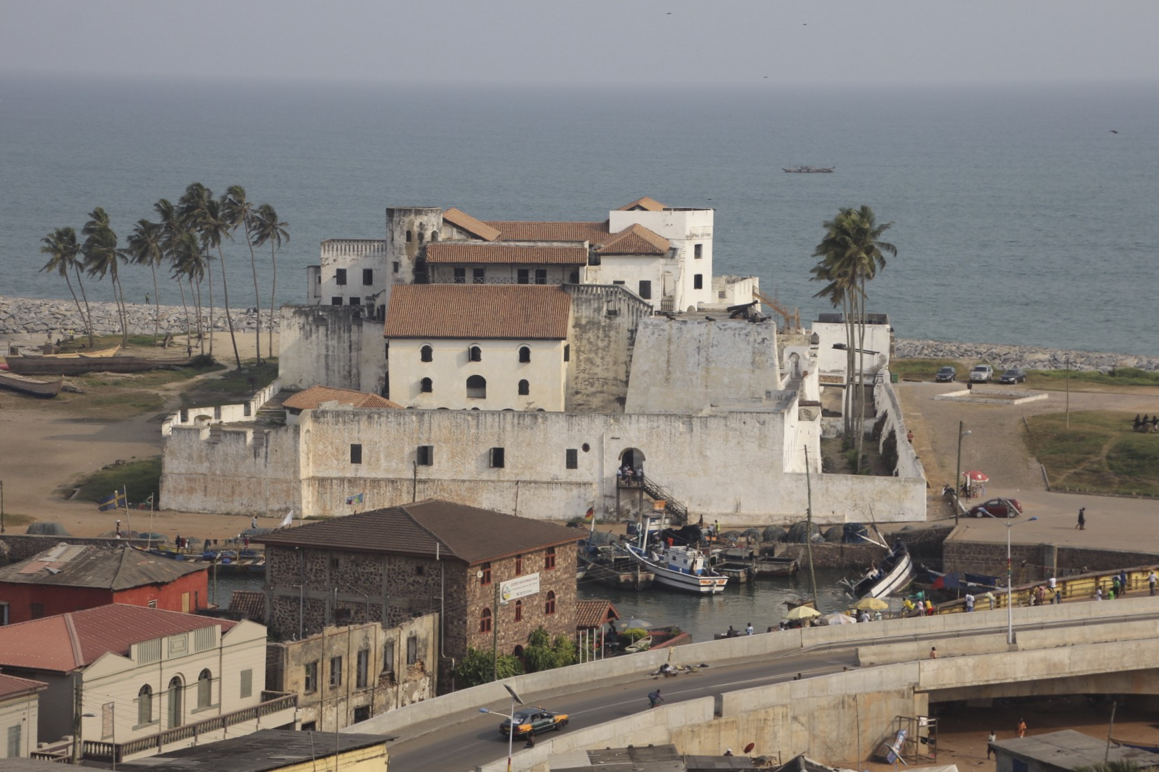 The view of Elmina Fort from the St. James Castle in Elmina