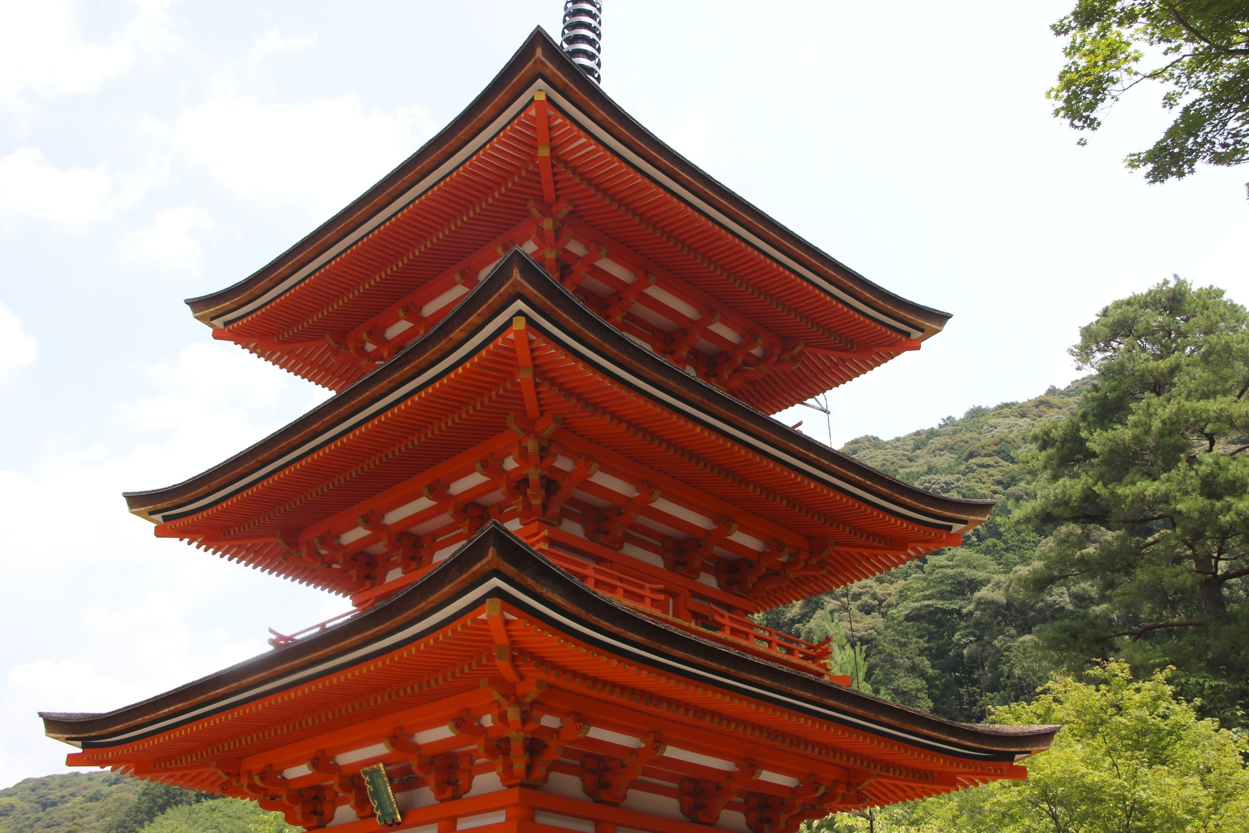 The three story pagoda at the Kiyomizu-dera,  an independent Buddhist temple in eastern Kyoto.  The temple was founded in 778.  It takes its name from the waterfall within the complex, which runs off the nearby hills.  Kiyomizu  means  clear water , or  pure water.