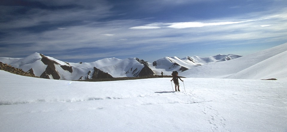 We crossed an unnamed mountain pass to access a large glacier system