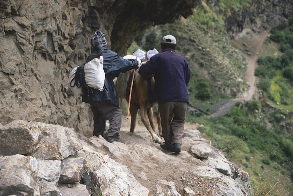 The traders use horses and mules for their trade with Tibet