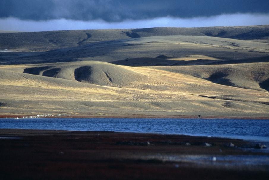 Lake Manasarovar and the barren hills of Tibet