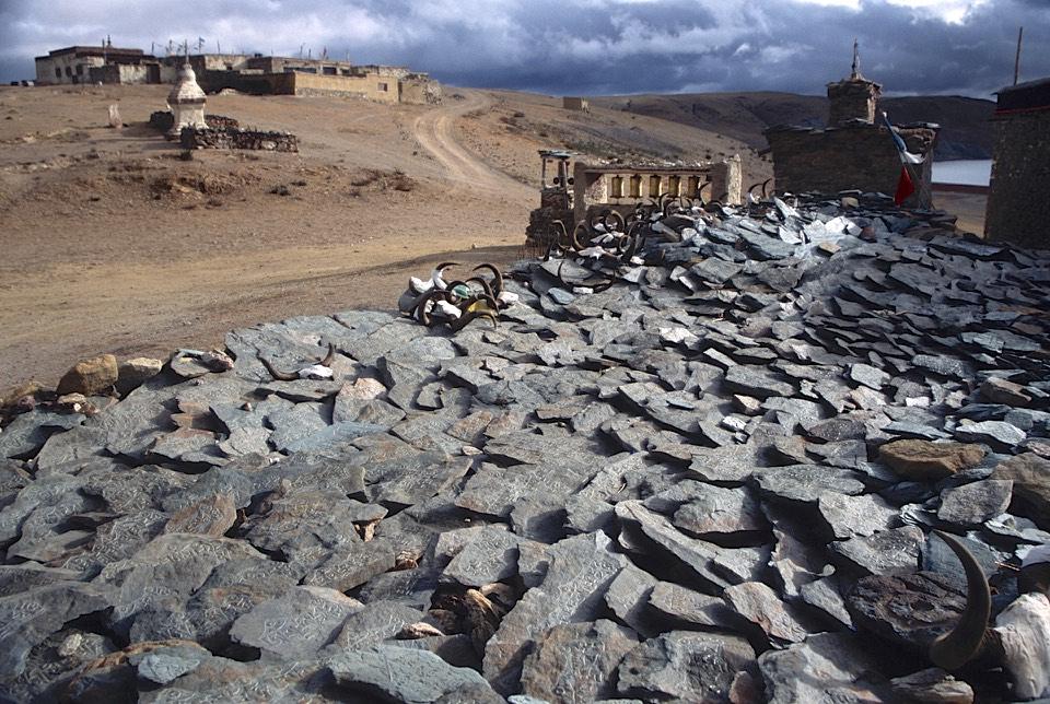 Mani stones on the shore of Lake Marasoravar