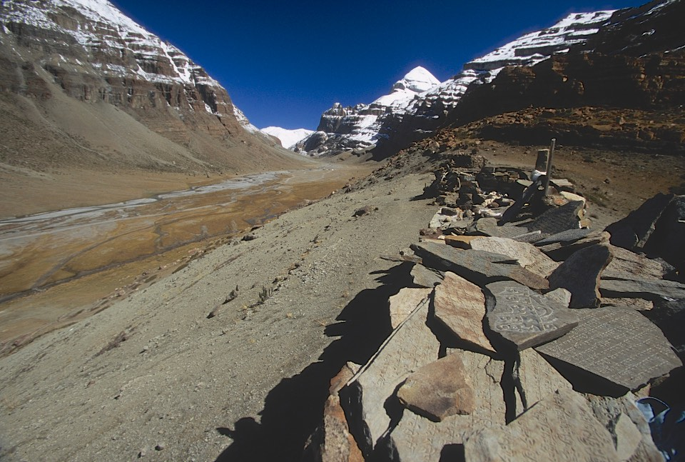 Mt. Kailash. A place where the sky burial ceremonies are performed. A sky burial is a dismemberment of a dead body with knifes and feeding it to the vultures. In this part of Tibet, there is no wood to burn the dead.