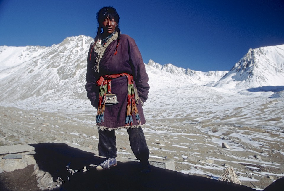 At the Dirapuk Monastery, a typical western Tibetan attire and facial features of the Tibetan Khampa (nomad).