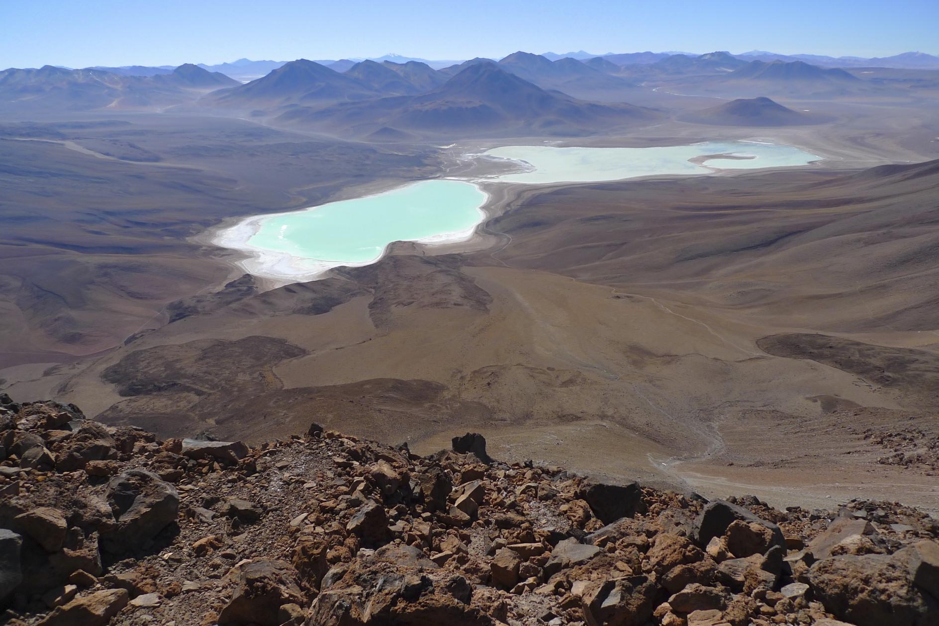 Laguna Verde and Laguna Blance from the Licancabur Volcano 5,920m