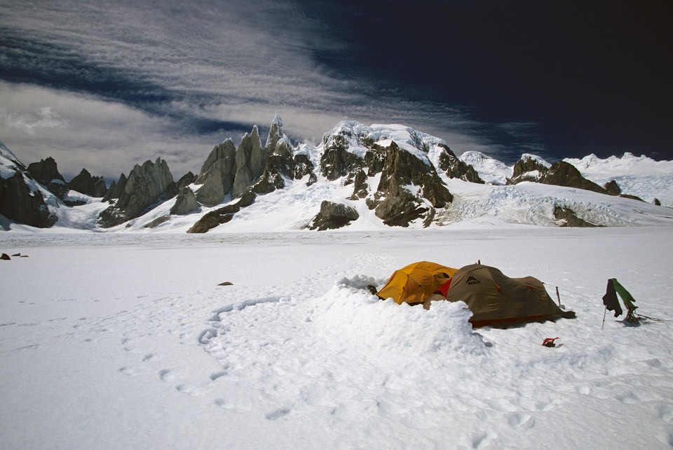 Our camp on the Icefiled in front of the Cirque de Los Altares