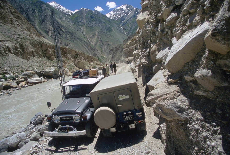 Jeep track from Skardu to Askole. We were blocked by a rockfall.