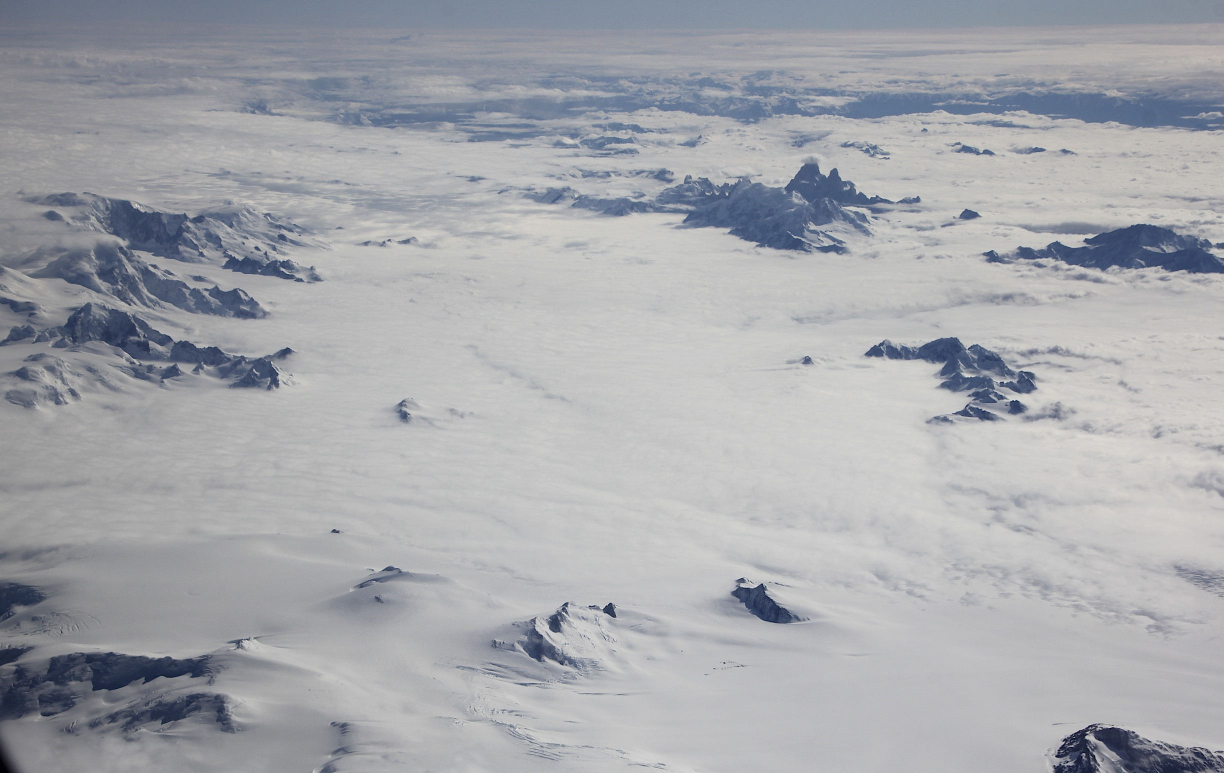 Southern Patagonian Icefield from the air - Fitz Roy and Cerro Torre on the right