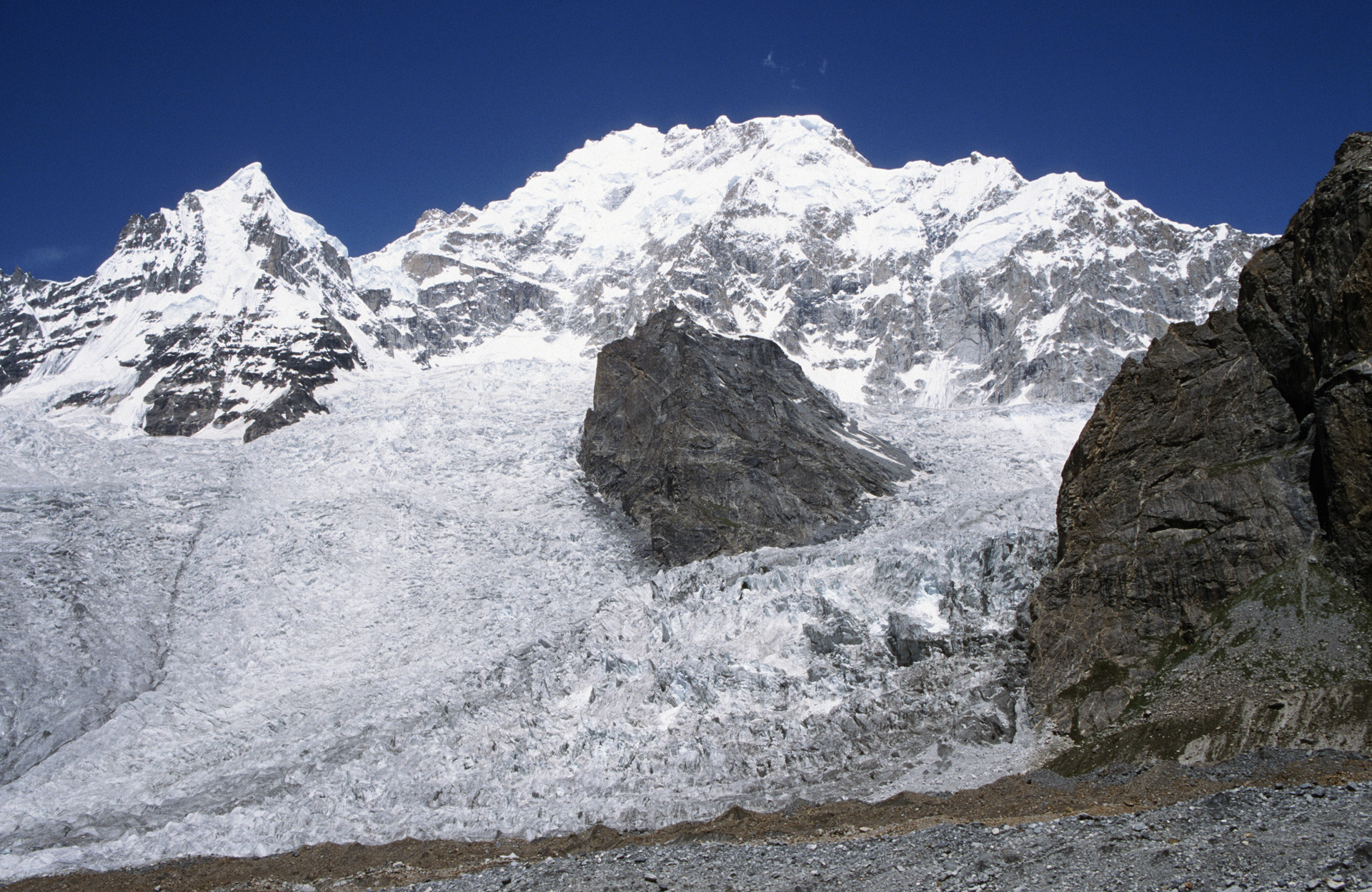 Masherbrum Icefall from the trail between the Ghondogoro High Camp and Daltsampa camp.