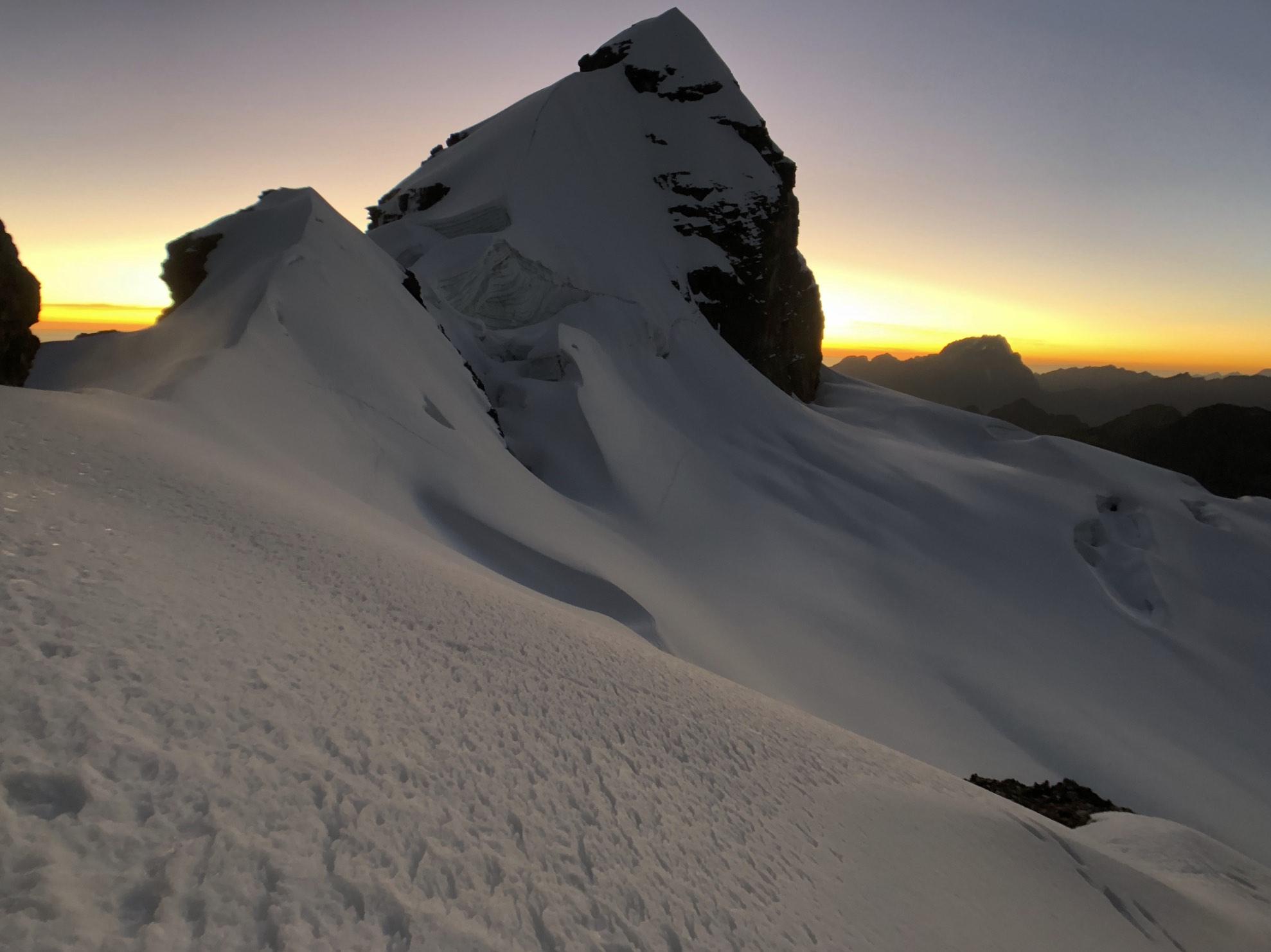 sunrise on the Pequeno Alpamayo 5,434m.