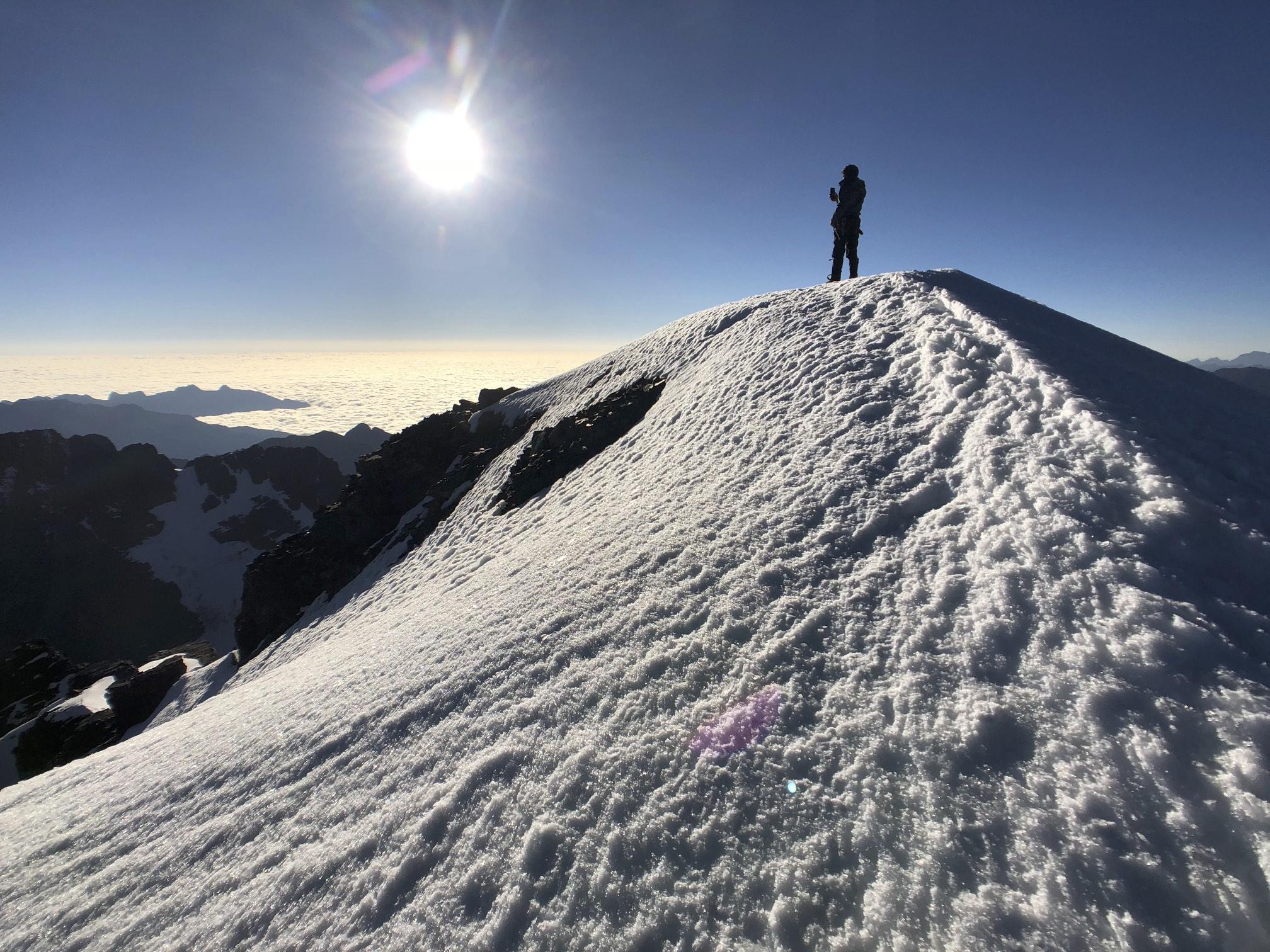 The summit of Pequeno Alpamayo
