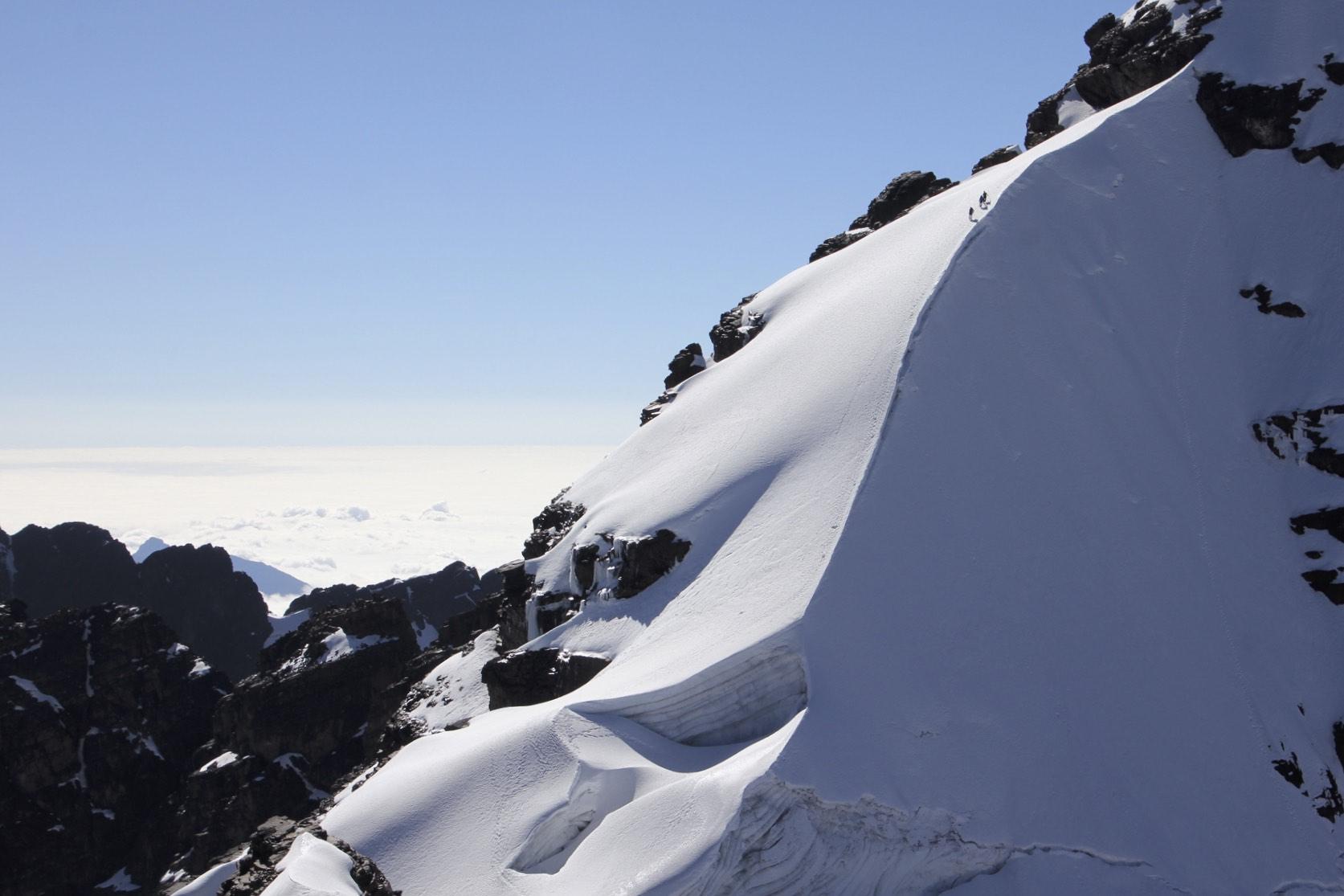 The summit ridge of Pequeno Alpamayo 5,434m.