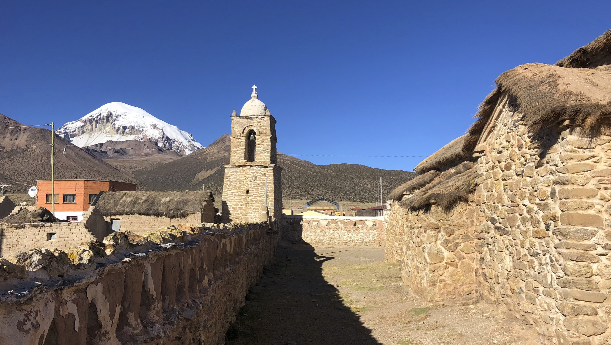 Sajama Village with Volcan Sajama in the background