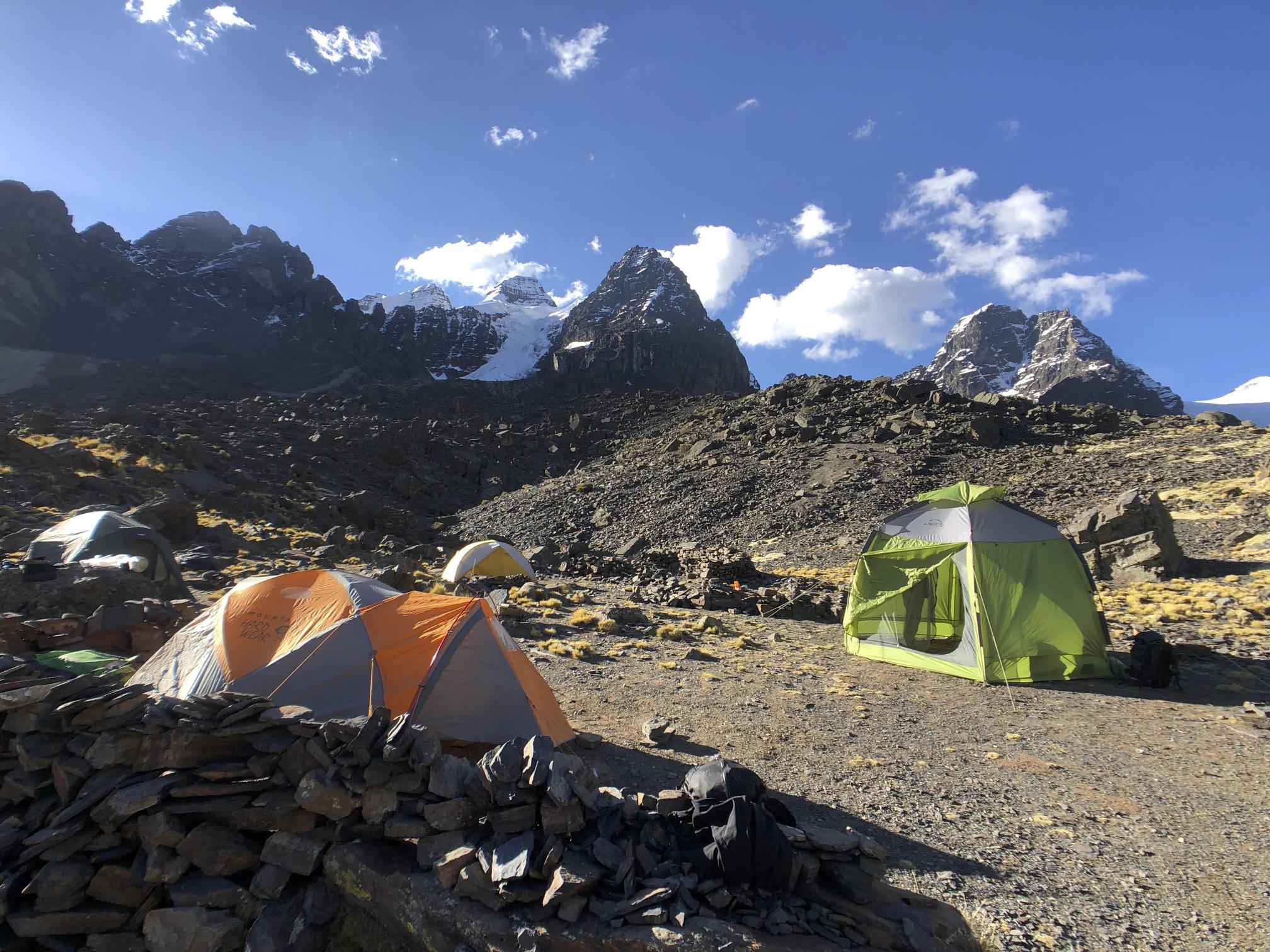 Basecamp for Pequeno Alpamayo and Condoriri