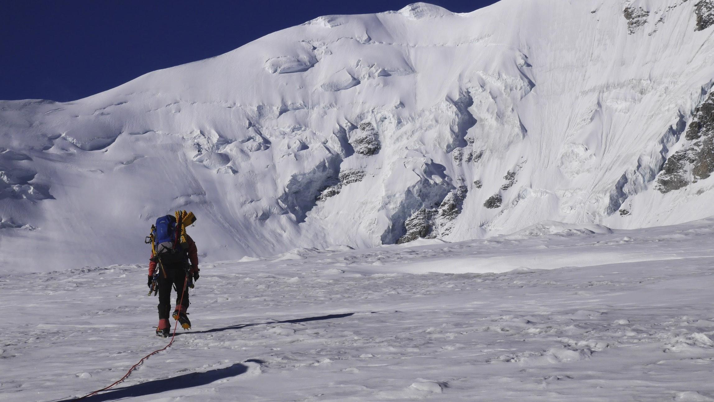 Approaching Mount Khuitan on the Potaniin Glacier.