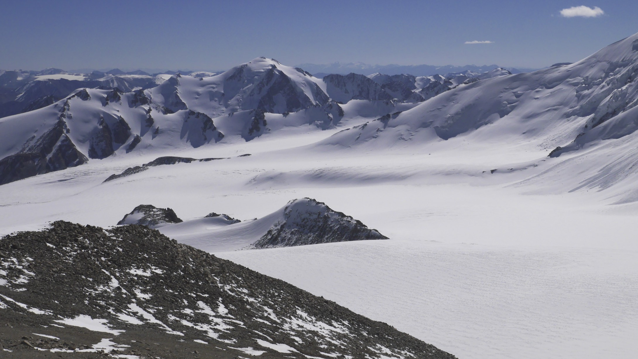Looking down to Potamiin Glacier from Mount Nairamdal 4,180m