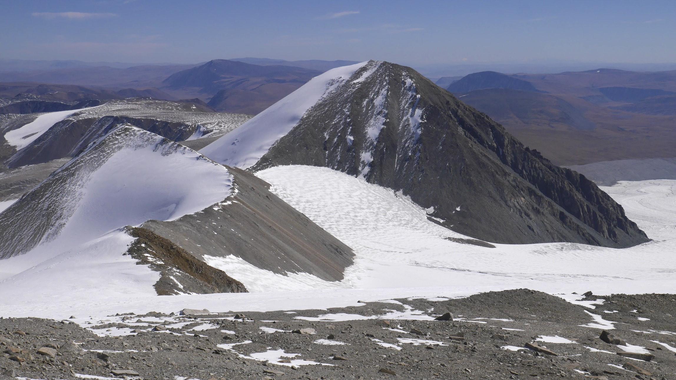 Mount Malchin 4,050m from Mount Nairamdal 4,180m