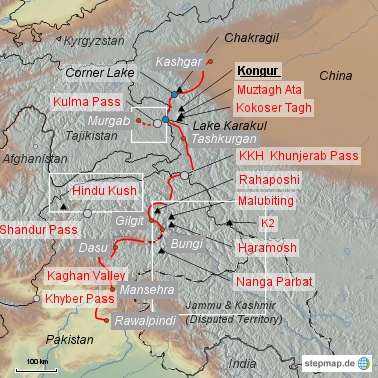 The map of the Karakoram Highway (KKH). The northern part of the KKH cuts through the Chinese part of the Pamir Mountians