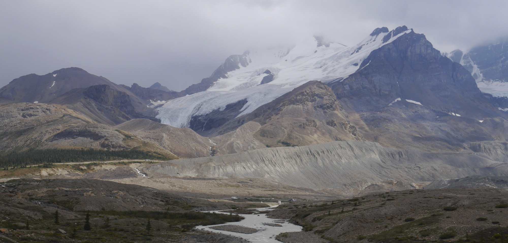 Mt. Athabasca along the Icefield Highway on the boundary between Banff and Jasper National Parks.