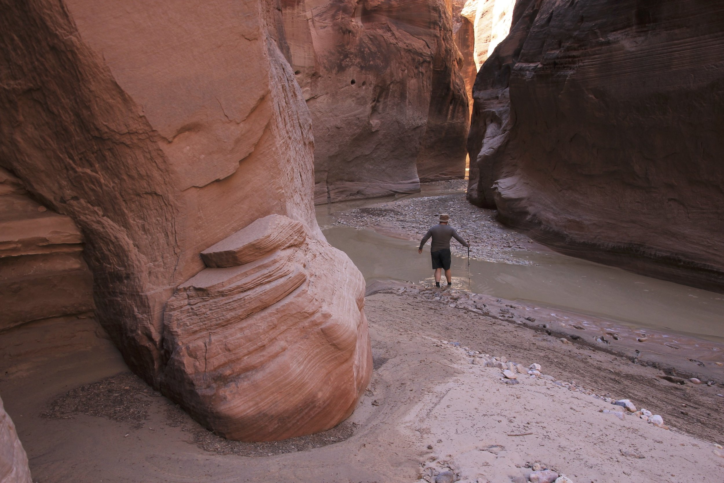 Exploring the Paria Canyon. We left our packs behind and during our exploration the river flow quadrupled. The packs got washed away. We found them downstream from where we left them. One of them had a snake stuck in it. When the river is flowing high, the snakes flow with it :-). After our hike, we received a lecture from a local on the types of snakes in the canyon. Apparently, the bad one has eyes of a cat. It is hard to check when you are freaking out after finding one in your pack!