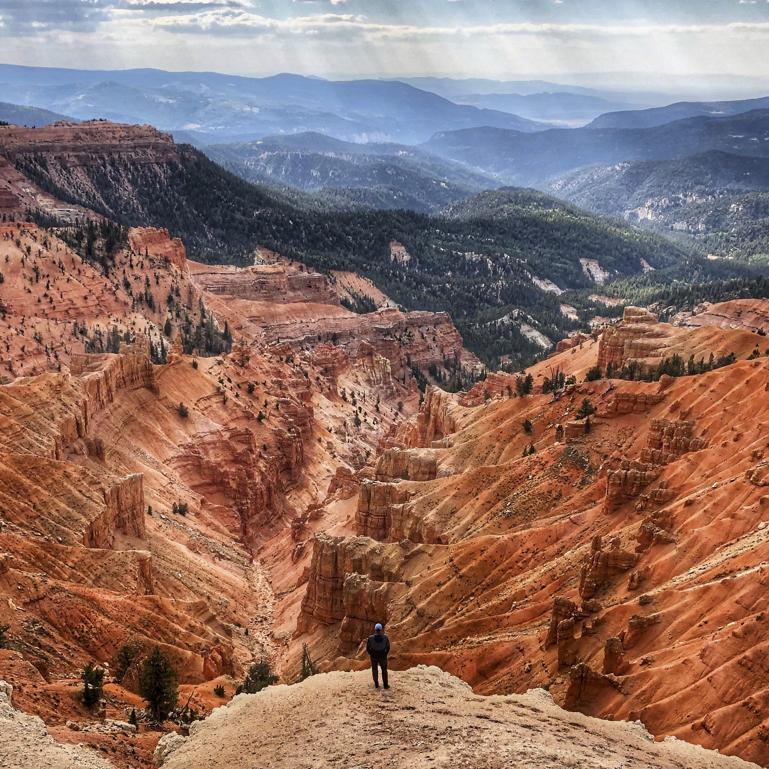 Looking down at the Cedar Breaks Canyon