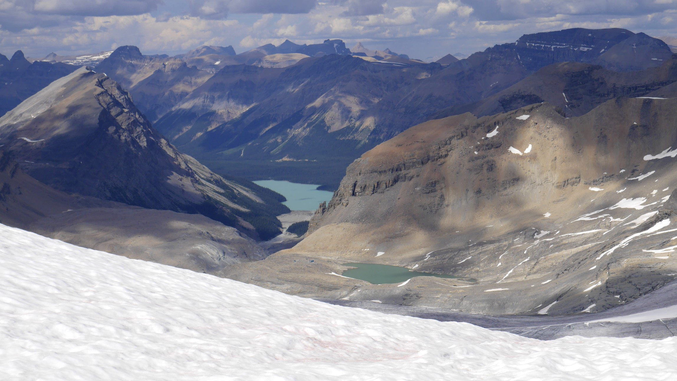 Peyto Lake and the Peyto Hut from the summit of Mt. Rhonda 3,062m