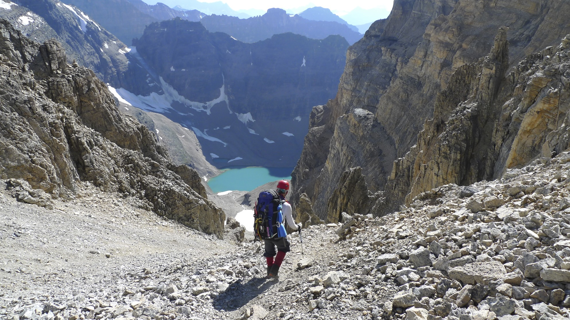 Descending to Lake Oesa from the Abbot Pass