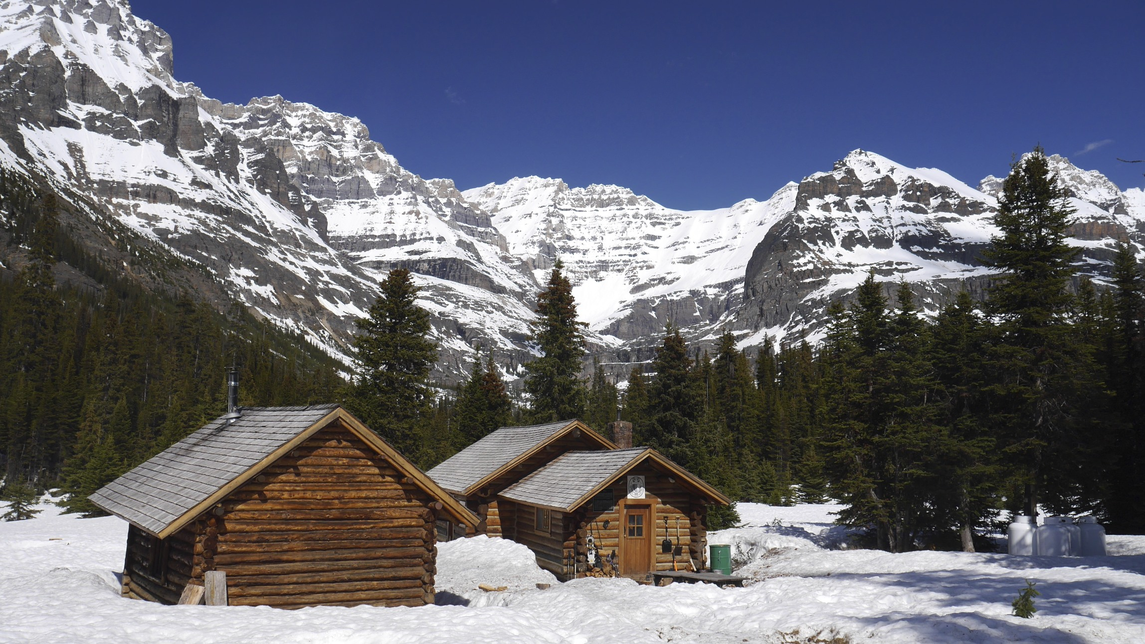 ACC hut at Lake Ohara. Mt. Lefroy in the centre