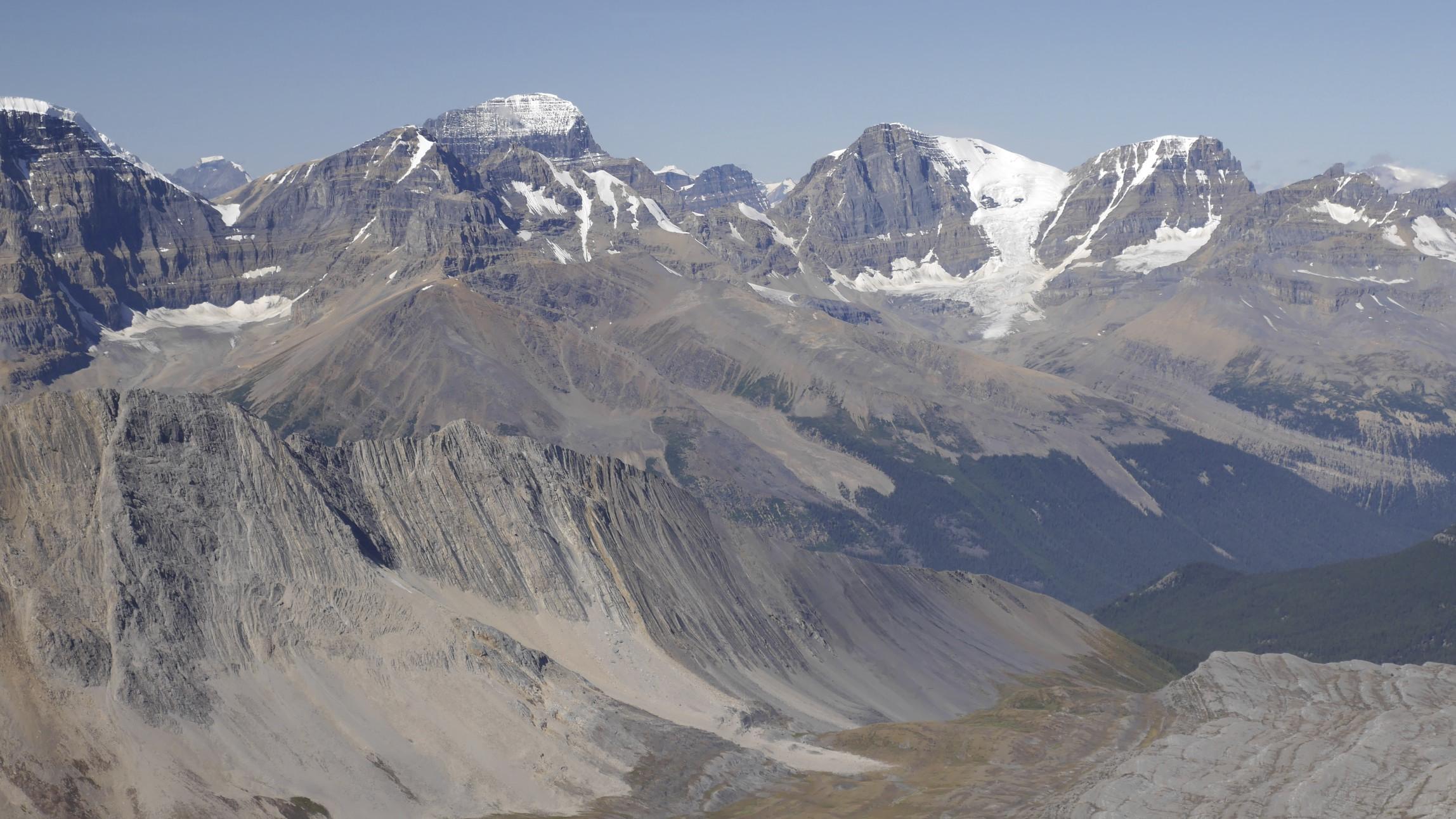 Mt. Alberta, Mt. Wooly and Mt. Diaden from Nigel Peak