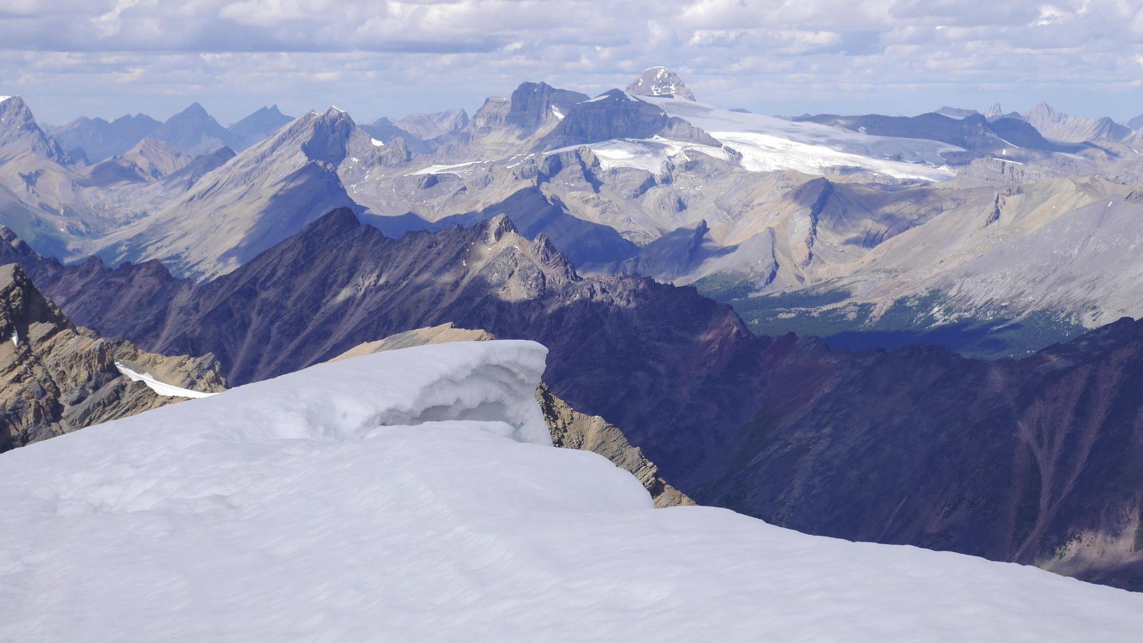 View to Mt. Brazeau (high peak in the centre) from Sunwapta Peak 3,315m