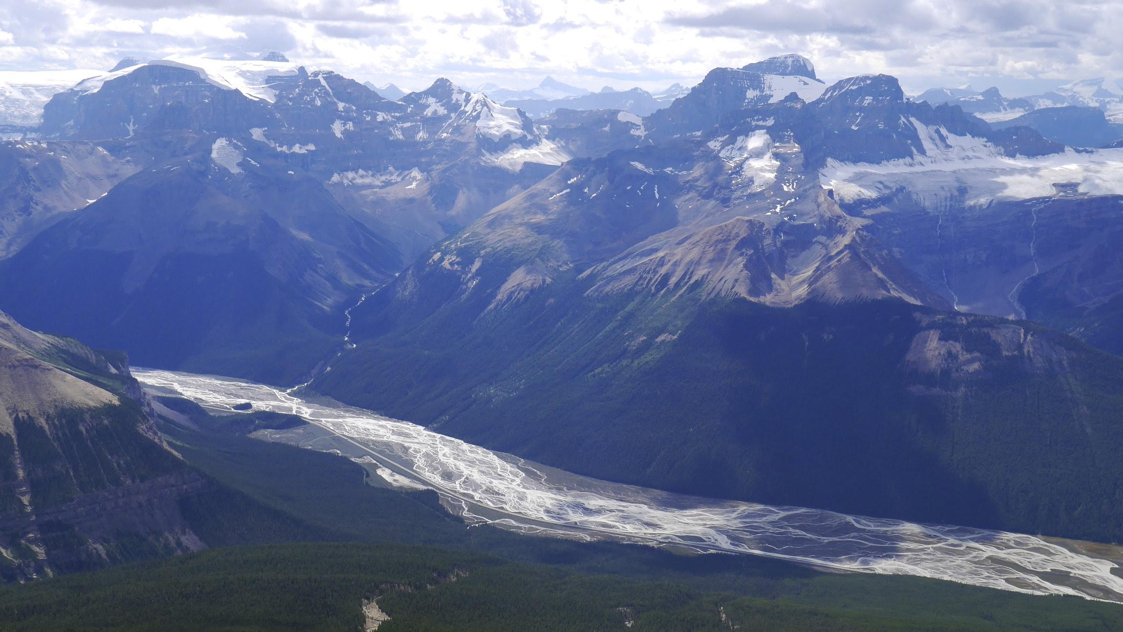 Snow Dome (left), Mt. Alberta, Mt Diadem (right) from Sunwapta Peak