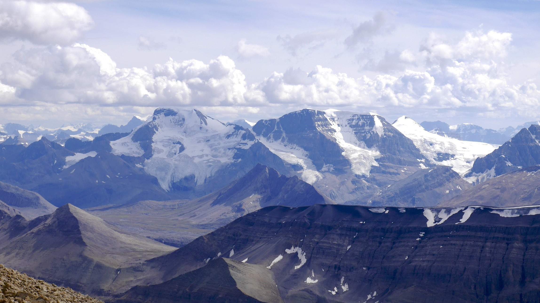 Mt. Athabasca and Mt. Andromeda from Sunwapta Peak 3,315m