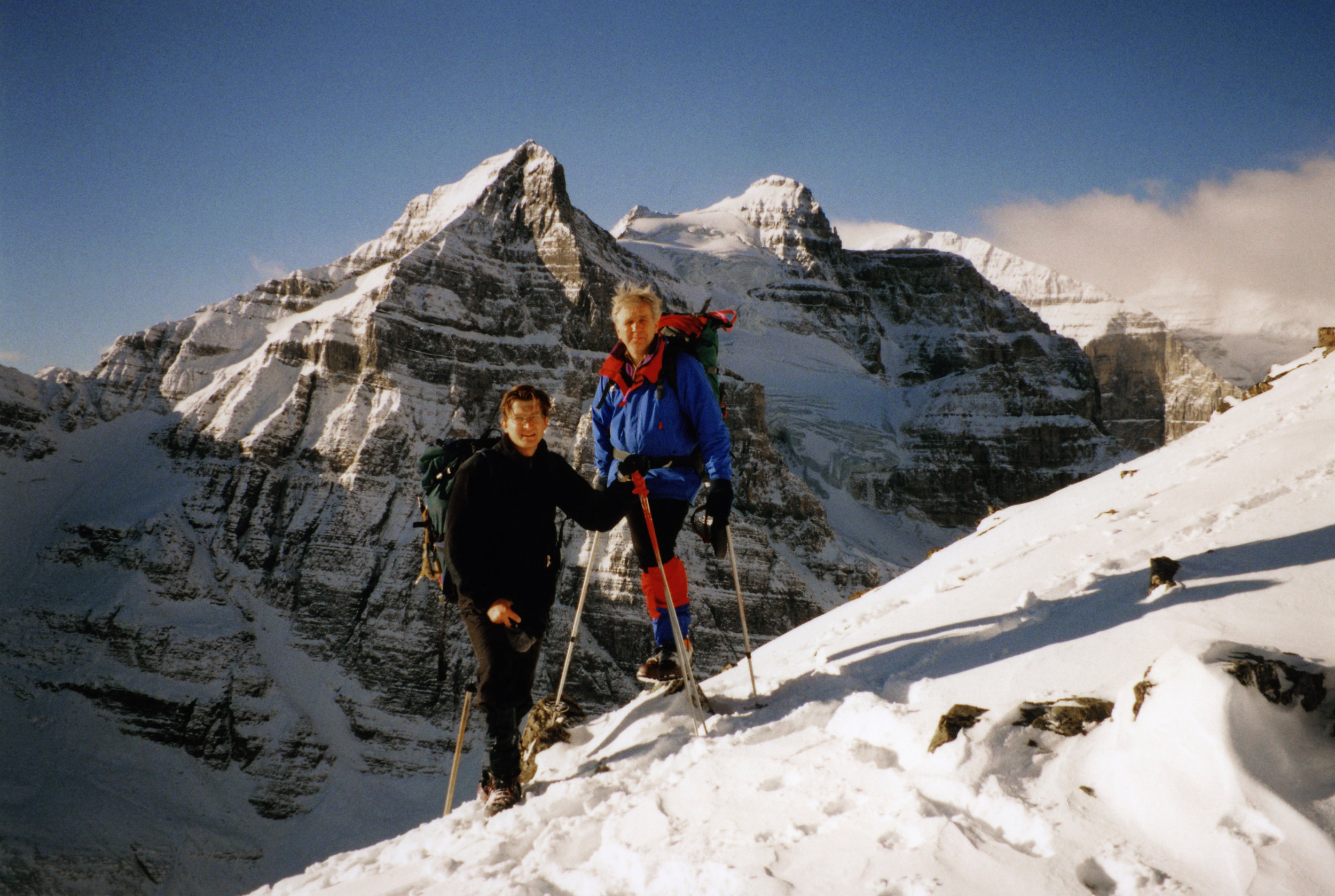 1996, one of my first outings to the fabulous alpine in the Lake Louise area. Mount Aberdeen and Aberdeen Glacier are in the background. Behind Mt. Aberdeen is Mt. Lefroy and Mt. Victoria. Andrzej, the man in the photo with me, is the Polish Himalayan climber from the golden days of Polish alpinism (1980s), full of fantastic stories of, at that time, lands yet to be discovered by me. At that time I could not have possibly imagined in my wildest dreems what would follow and how absolutely fortunate I would be to have the opportunity to do what I am doing. People like Andrzej, among many others have contributed to this wild journey!