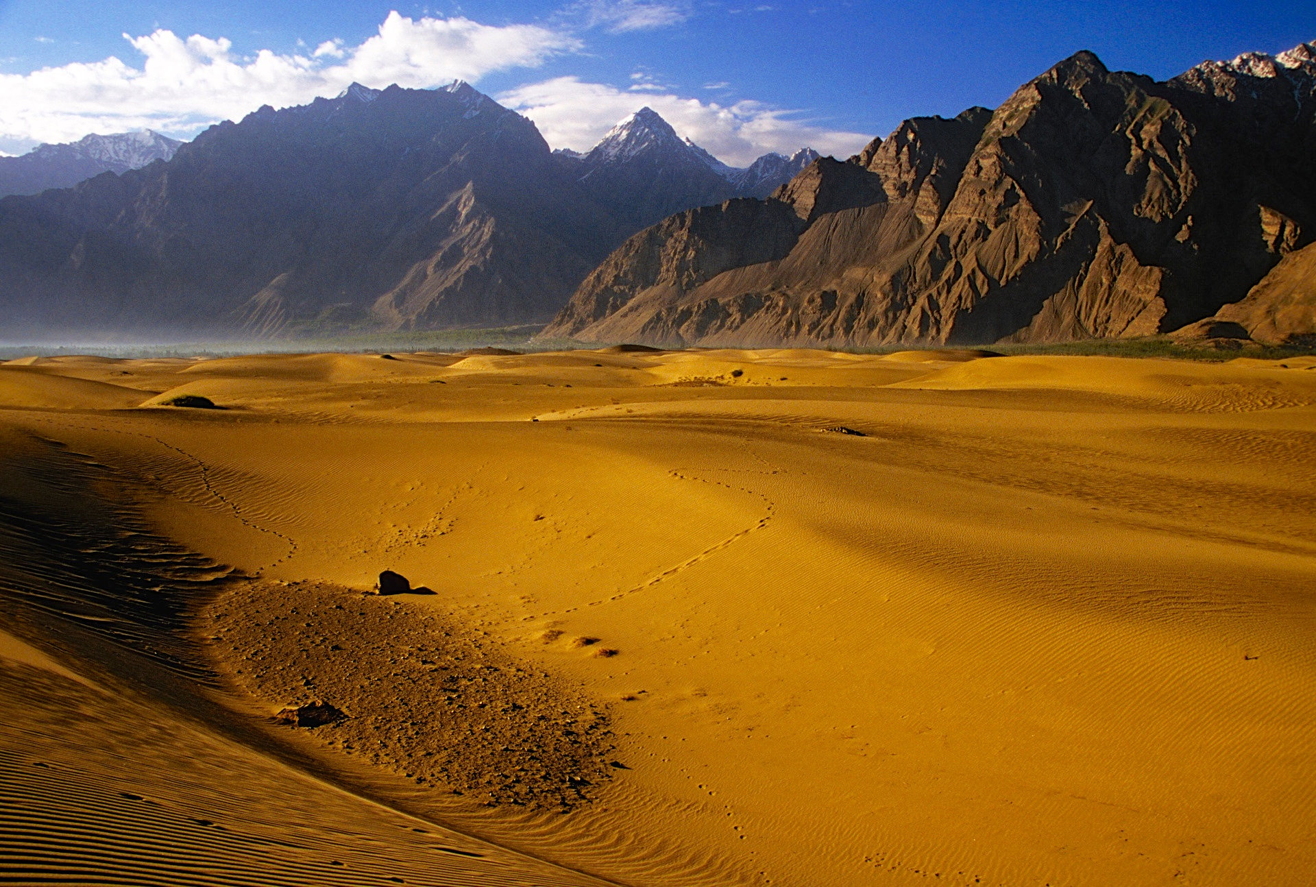 The early morning light on the sand dunes of the Indus River near Skardu.
