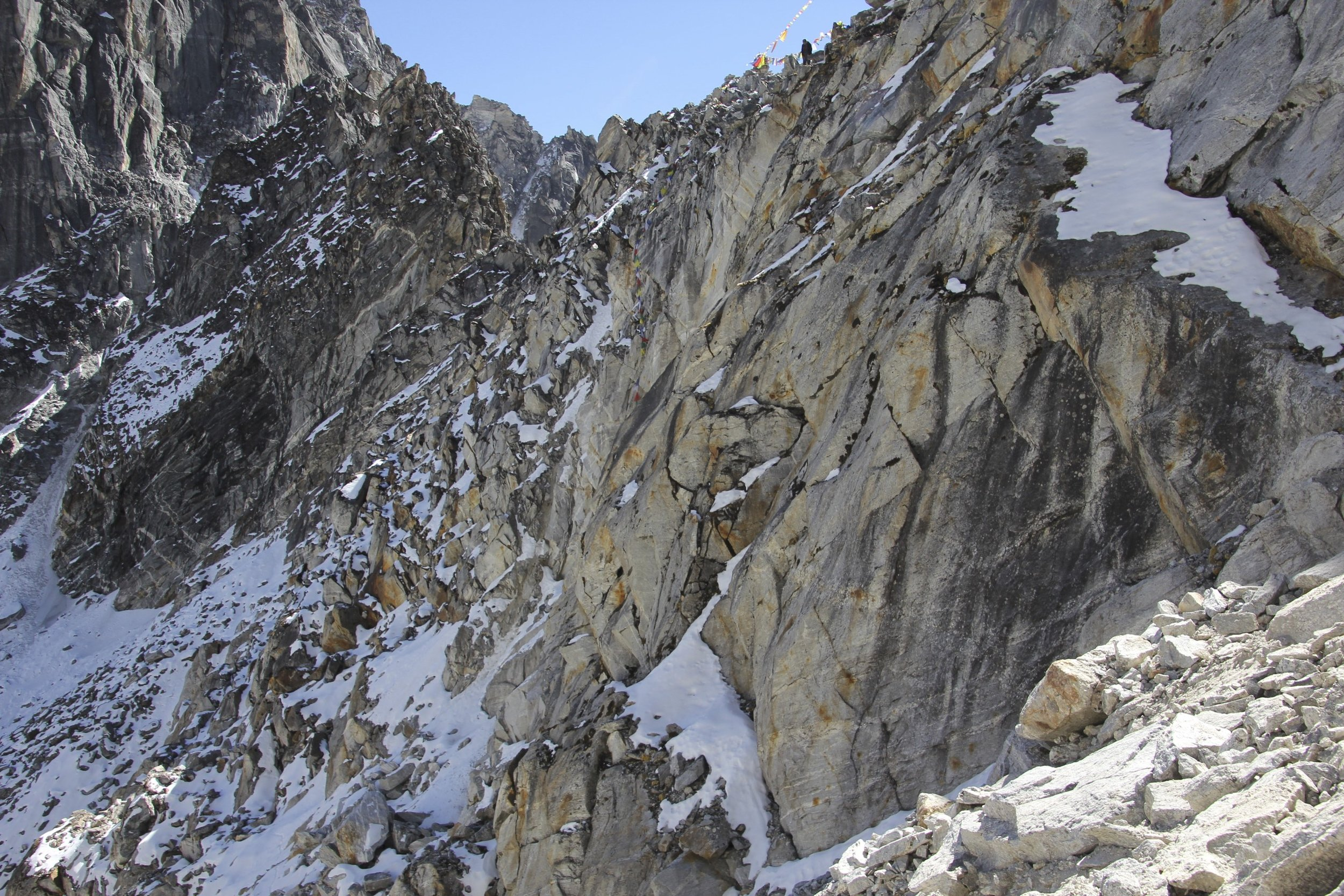 Ganjala Pass, the approach is via the snow covered shelf on the upper right. Chains have been installed for safety and a ladder for the porters.