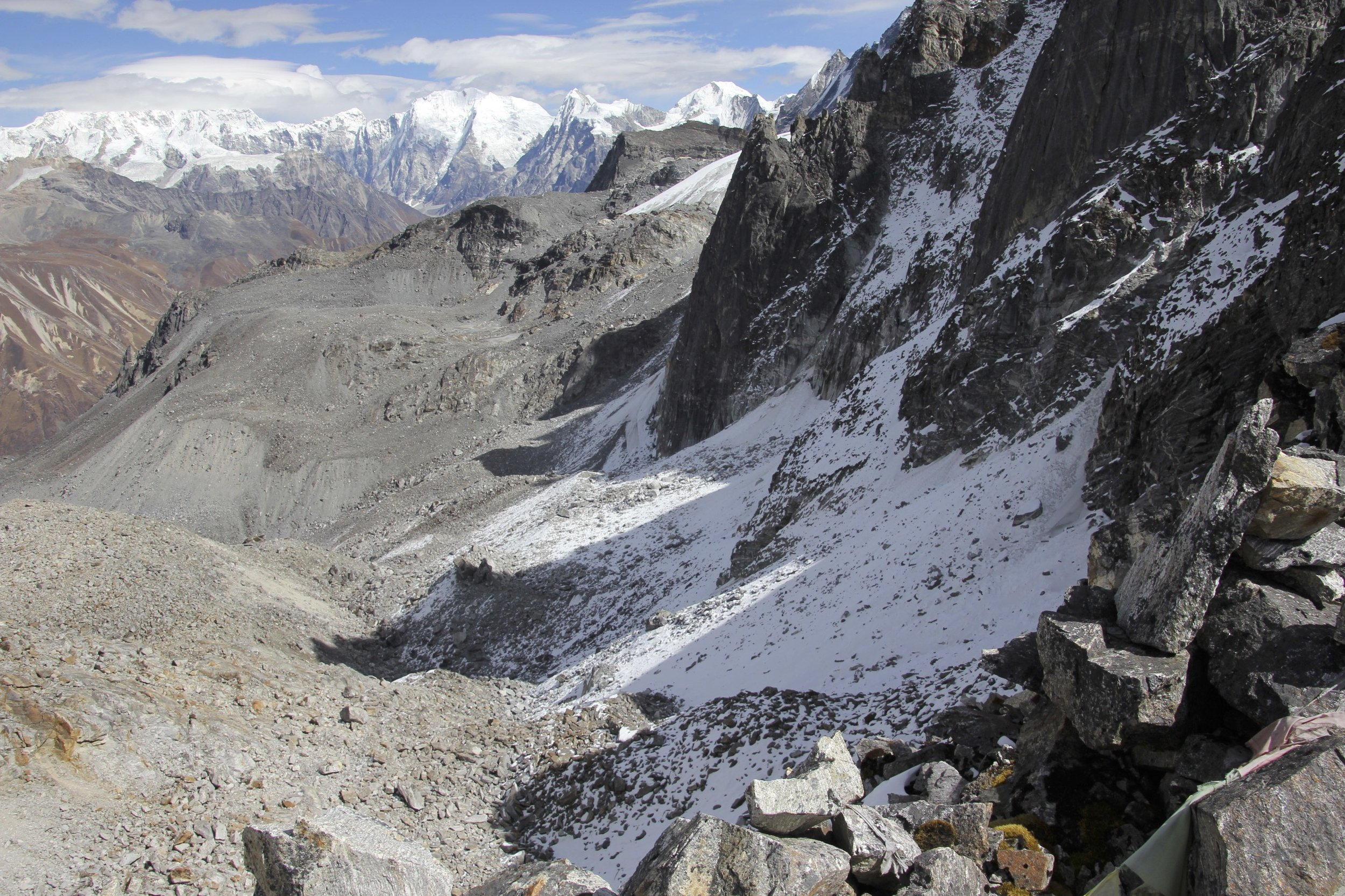 Looking down at the approach route to the Ganjala Pass from the now distant Langtang Valley.