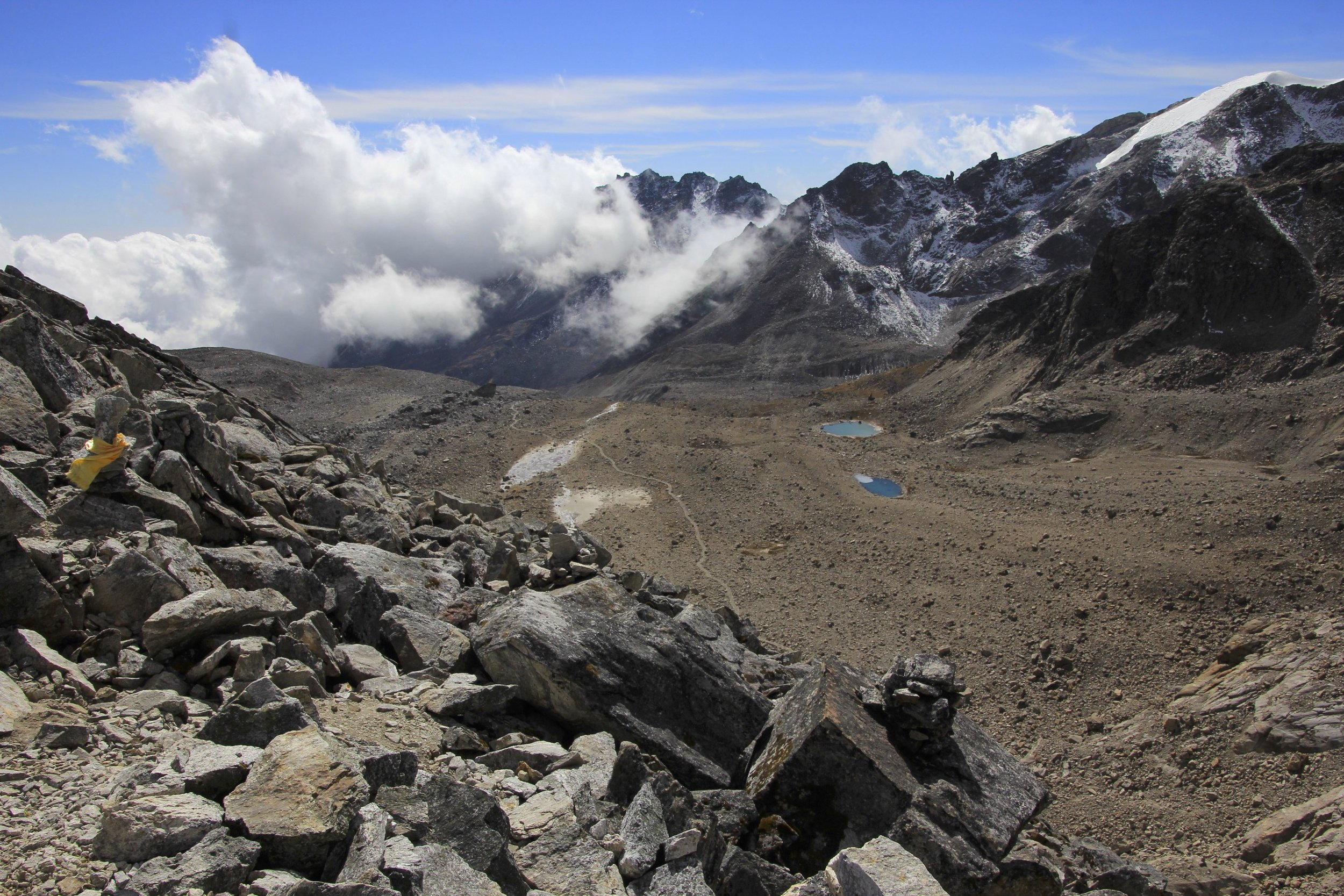 Looking south from Ganjala Pass. The south high camp is located by the two small lakes below at an altitude of approx 5,000m.