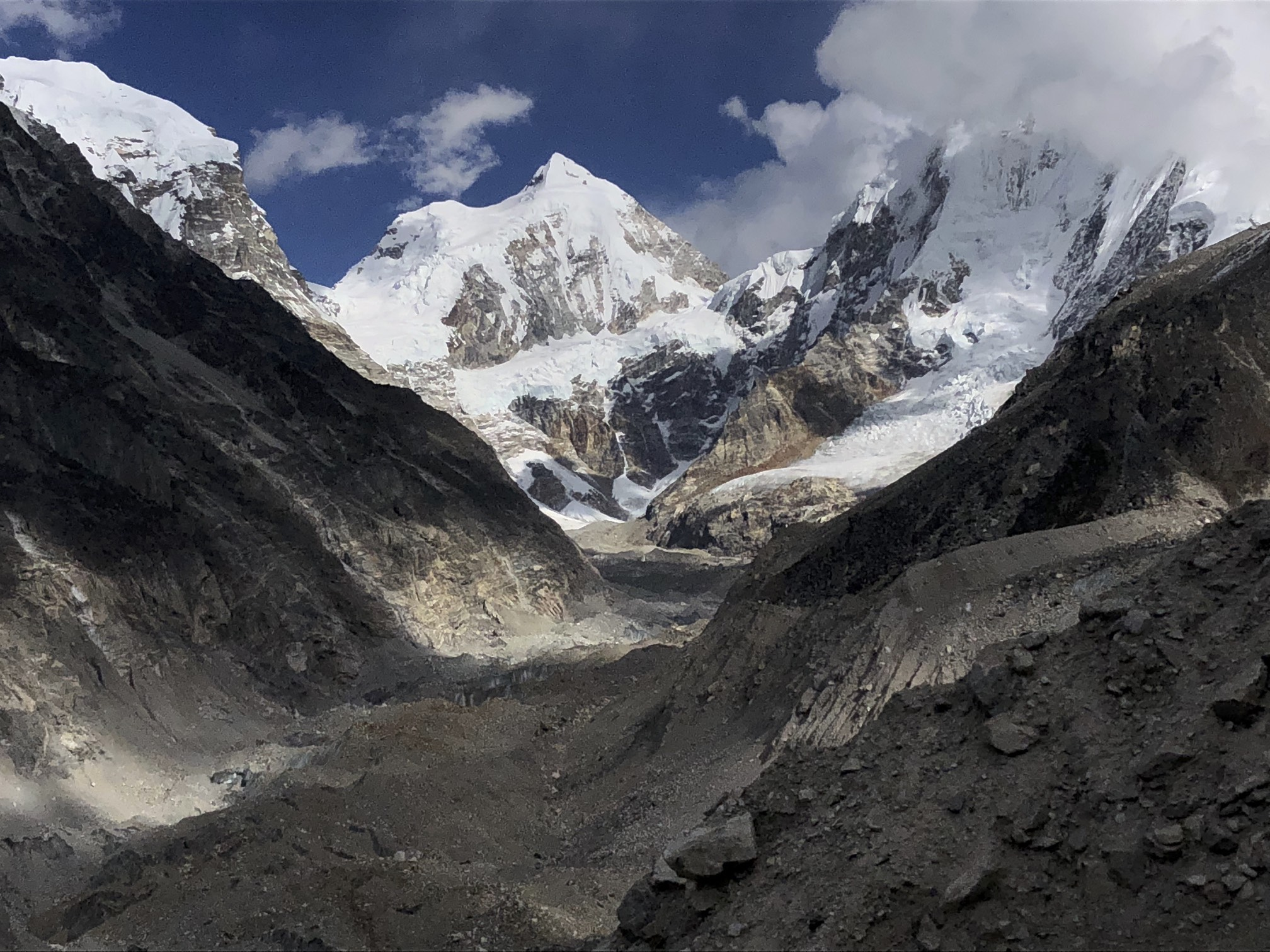 Langshisa Glacier. On the left is Gur Karpo Ri 6,892m, in the middle is Loempo Gang 6,979m and on the right is Dorje Lakpa 6,966m.