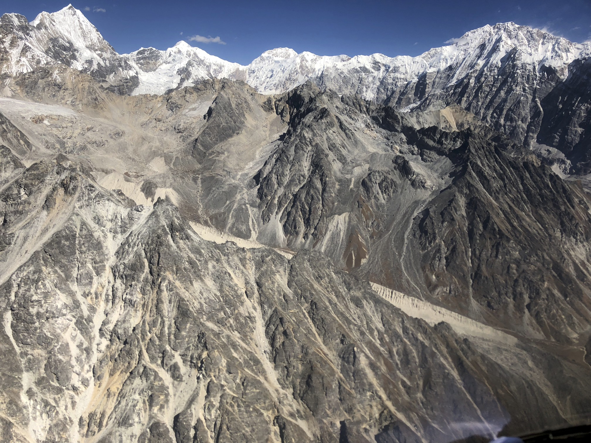 Langtang Himal from the helicopter. Kyunggari 6,599m on the left and Shaishapangma 8,013 on the right. The Shalbachum Glacier is in the middle.