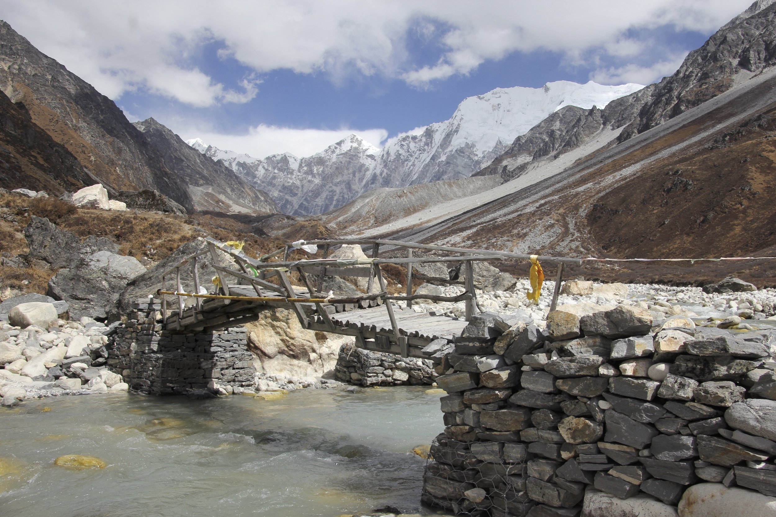 We were ready to ford the Langtang River but to our surprise there was this beautiful bridge. The snout of the Langtang Glacier is in the distance.