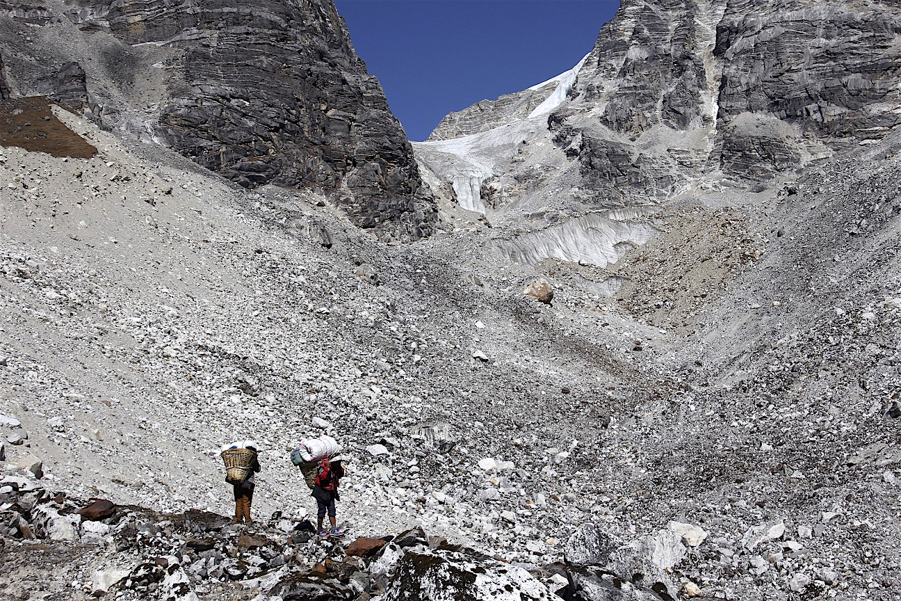 Approaching the Tilman Pass high camp. The camp is located between the pass and the the white lip of the glacier.