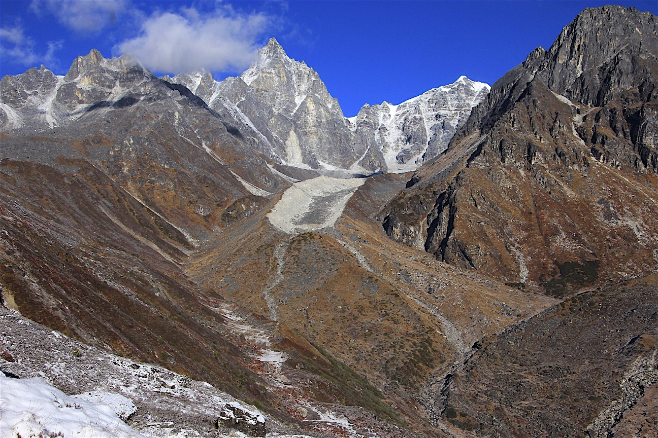 The approach glacier to Tilman Pass from Tin Pokari. The pass is hidden behind the mountain in the forefront.
